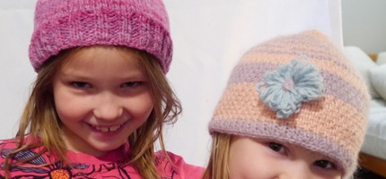 The girls loving their new hats